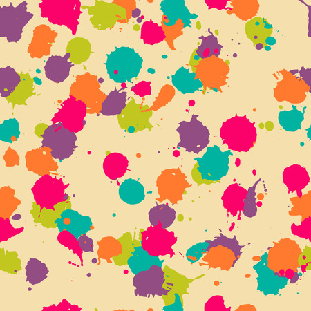 Vector seamless blot pattern in psychedelic. Colorful design for textile, fabric, wrapping, cover, website, background. Baby watercolor pattern in orange, blue, green, purple, pink Illustration