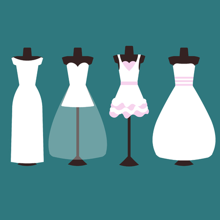 Vector Set Of Wedding Dresses In White And Pink. Four Types Of ...