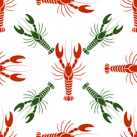 pincers: Vector seamless pattern with crayfishes or lobsters in red and green colors. Simple flat design for textile, fabric, wrapping