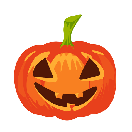flier: Vector isolated pumpkin. Halloween design, emotion, laughing, smiling, scary, evil, winking smile. Jack lantern for website, flier, invitation card, stickers