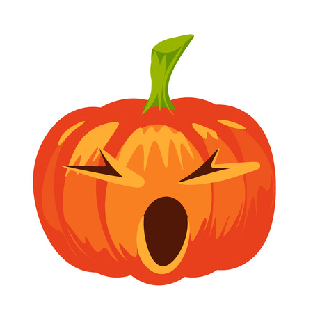 Vector isolated pumpkin. Halloween design, emotion, screewing up face. Jack lantern for website, flier, invitation card, stickers