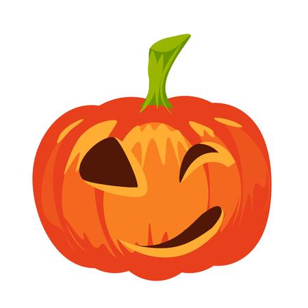 Vector isolated pumpkin. Halloween design, emotion, laughing, smiling,  evil, winking smile. Jack lantern for website, flier, invitation card, sticker Illustration