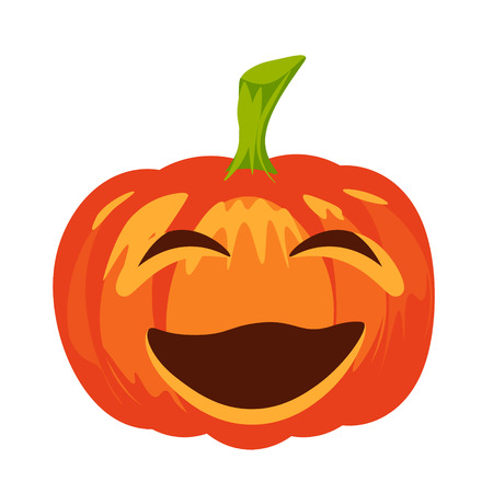 screwing: Vector isolated pumpkin. Halloween design, emotion, laughing, smiling, screwing up smile. Jack lantern for website, flier, invitation card, sticker Illustration