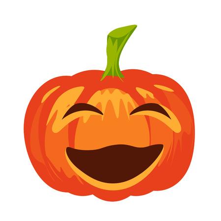 terrible: Vector isolated pumpkin. Halloween design, emotion, laughing, smiling, screwing up smile. Jack lantern for website, flier, invitation card, sticker Illustration