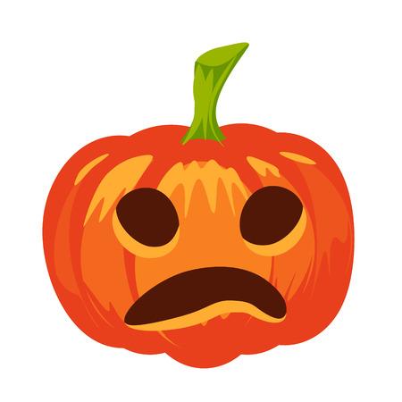 marvel: Vector isolated pumpkin. Halloween design, emotion, sad, scary, surprised smile. Jack lantern for website, flier, invitation card, sticker