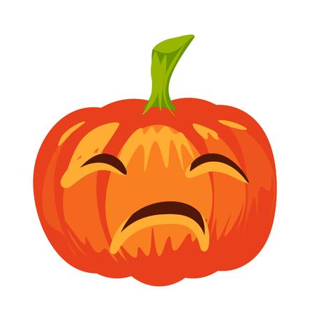 Vector isolated pumpkin. Halloween design, emotion,  sad, scary, winking, screwing up smile. Jack lantern for website, flier, invitation card, sticker Illustration
