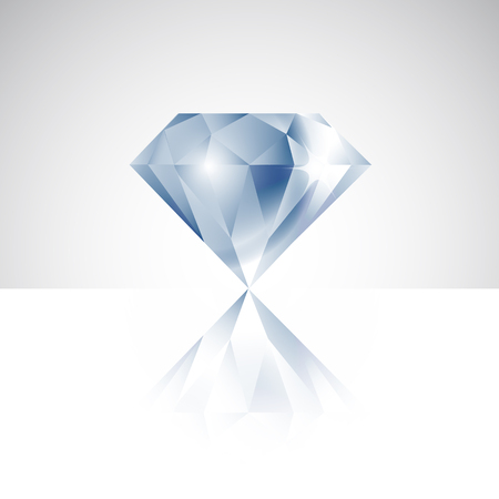 reflection: Vector isolated diamond with reflection Illustration