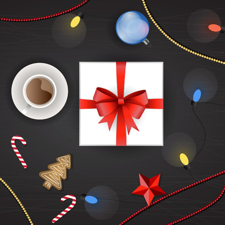 galleta de jengibre: Vector set of christmas decoration, top view. Gift box, Christmas tree garland, christmas ball, ginger cookie, candy cane, red stars, cup of hot tea or chocolate, Christmas beads and colorful lights