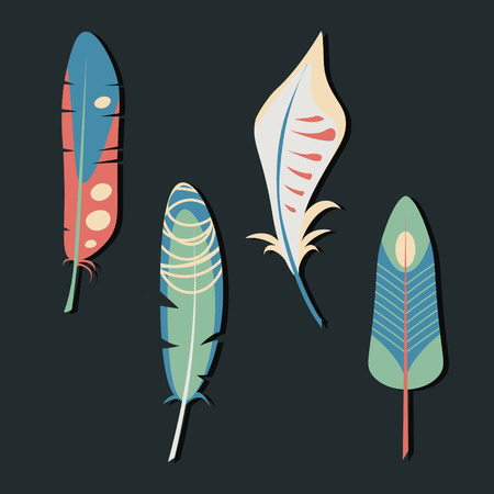 lightness: Vector set of feathers. Elegant tender design for card, website, wrapping, background. Ethnic elements of nature Illustration