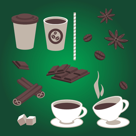 Set of isolated coffee items, coffee cups, pieces of chocolate, star anise, coffee beans, cinnamon, hot and cold drinks. Illustration