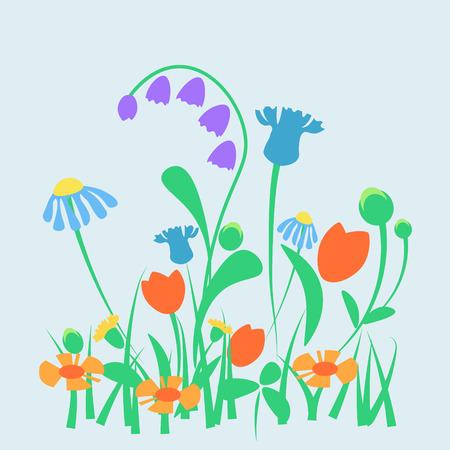 Vector spring or summer garden or forest flowers. Simple design for mother day card, website, textile Illustration