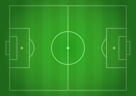 Vector football field. Realistic gradient illustration, top view. Design for cards, brochures, websites, A4, background Illustration