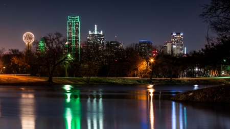 Dallas skyline reflected in a lake