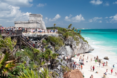 tulum: Mayan Ruins in the ancient city of Tulum, Yucatan, Mexico Stock Photo