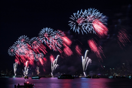 fourth of july: 4th of July Fireworks on Hudson River, New York Stock Photo