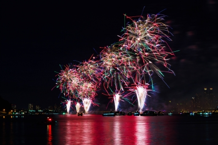 4th of July Fireworks on Hudson River, New York Stock Photo