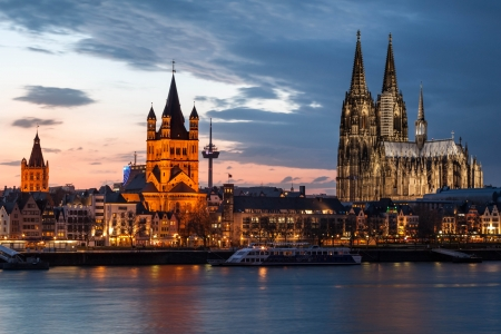 Cologne Cathedral after Sunset, Koln, Germany