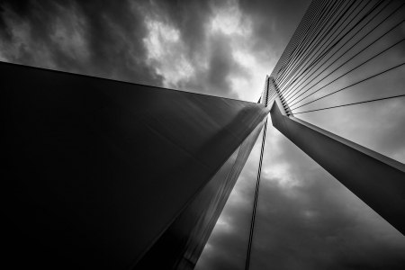 rotterdam: The top of the Erasmus Bridge gainst a cloudy sky, Rotterdam, The Netherlands Stock Photo