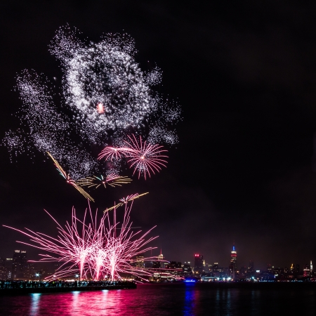 glorious: 4th of July Fireworks on Hudson River, New York Stock Photo