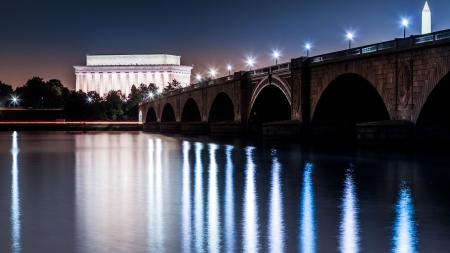 Lincoln Memorial and the Arlington Memorial Bridge by night viewed from the banks of the Potomac river photo