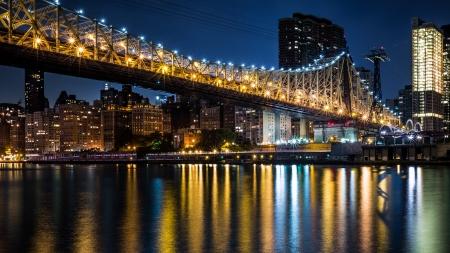 queensboro bridge: Queensboro bridge by night - the Manhattan end