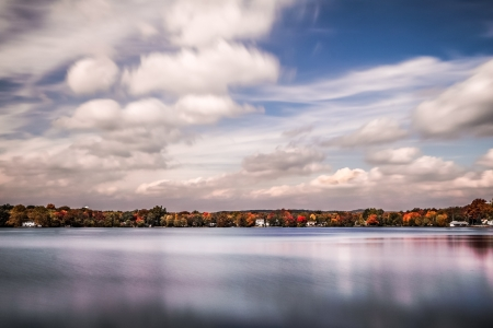Cloudy day over Lake Parsippany, New Jersey photo