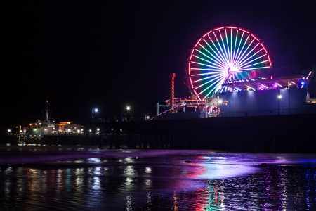 pier: Santa Monica Pier and the Ferris Wheel by night Editorial