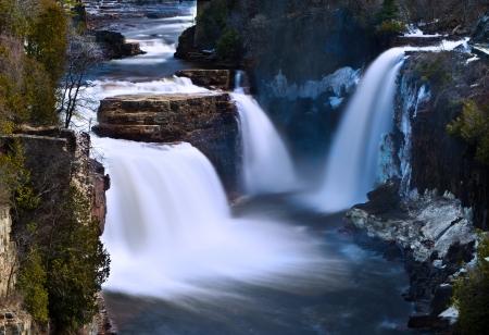 baratro: Ausable Chasm casa dei Rainbow Falls Archivio Fotografico