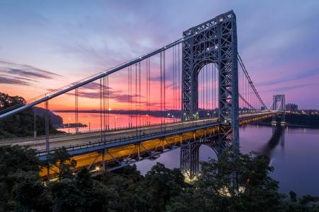 Purple sunrise over George Washington Bridge, Fort Lee, New Jersey