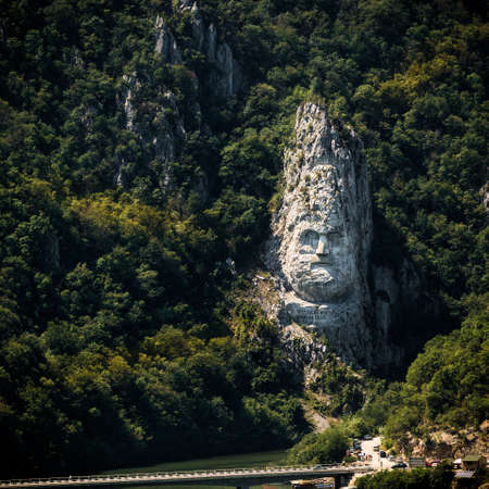 hill of the king: The statue of Decebalus Rex, King of the Dacians, carved in the mountain rock