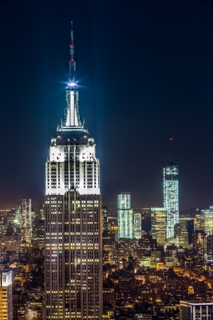 The top of the Empire State Building - a New York landmark - by night