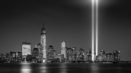 Tribute in Light on September 11, 2013 in Jersey City, NJ  This art installation creates  two vertical columns of light in remembrance of the September 11 attacks