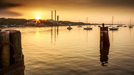Port Jefferson harbor at sunset in Long Island, New York