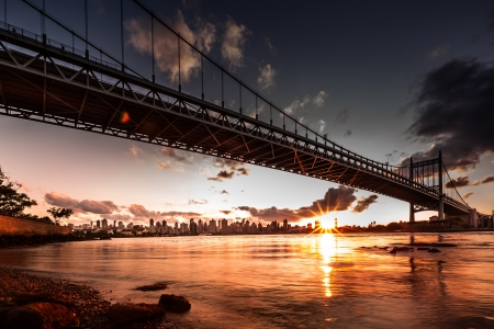 urban scenics: Queensboro bridge spanning the East River at sunset, New York Stock Photo