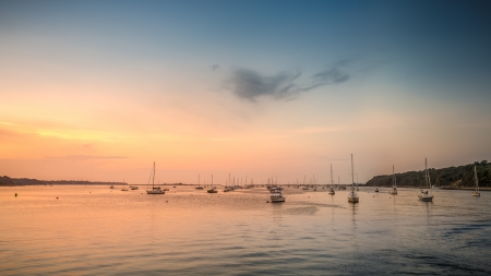 The harbor bay of Port Jefferson, Long Island after sunset