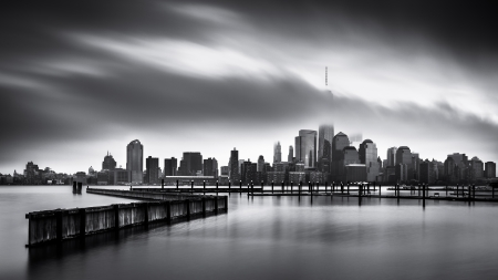gloomy: Gloomy Day for the Financial District  Fine Art black and white Lower Manhattan photo, taken from Jersey City across the Hudson River