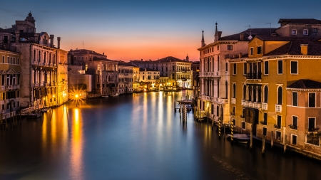 Grand Canal at dusk in Venice, Italy viewed from Ponte dell Accademia  photo