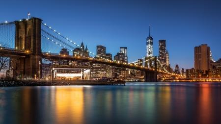 brooklyn: Brooklyn Bridge at dusk viewed from the Brooklyn Bridge Park in New York City