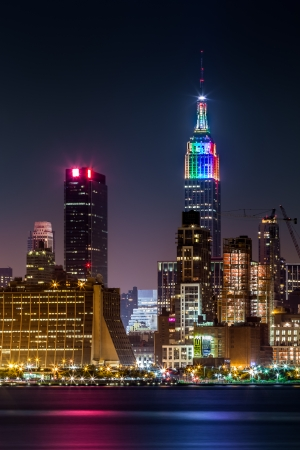 Empire State building illuminated with rainbow colors during the Gay Pride weekend