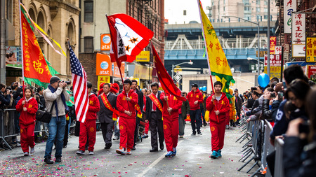 next year: New York senator Martin J  Golden parades at the Lunar New Year Festival in Chinatown next to a community representative