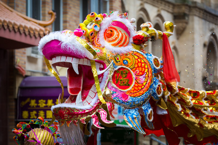 Traditional Chinese Dragon parades at the Lunar New Year Festival in Chinatown  Chinese dragons are legendary creatures in Chinese mythology and Chinese folklore