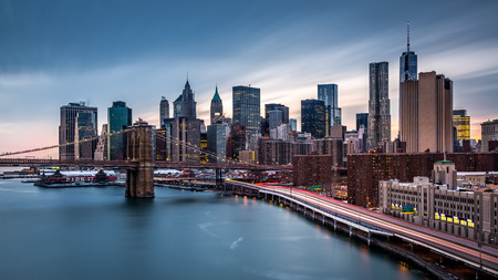 Brooklyn Bridge and the Lower Manhattan at dusk photo