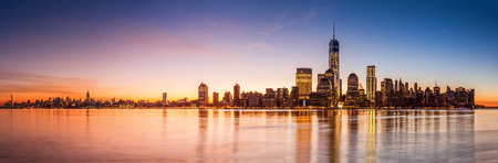 New York skyline at sunrise, viewed from Jersey City across the Hudson River