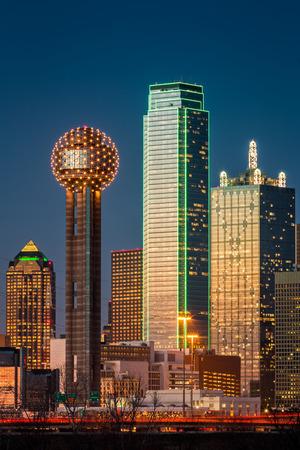 bluesky: Dallas skyscrapers at sunset