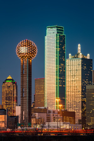 Dallas skyscrapers at sunset