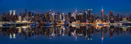 New York Skyline reflected in Hudson River on Presidents Day
