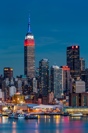 Empire State Building illuminated with the American flag colors in honor of the Presidents  Day