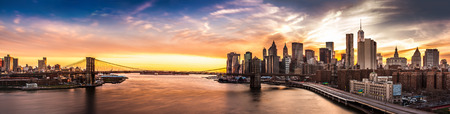 Brooklyn Bridge panorama at sunset photo