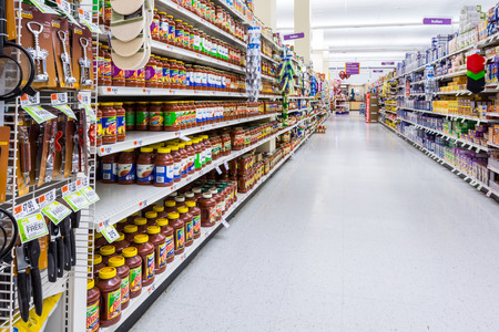 Condiments and spices aisle in an American supermarket