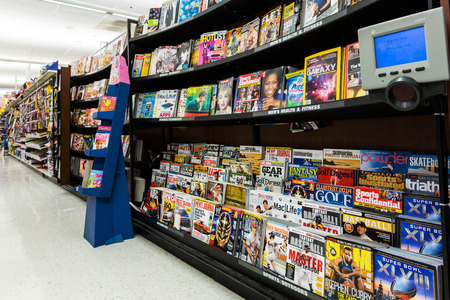 Magazines aisle in an American supermarket